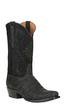 Black Jack Men's Black Suede Caiman Belly Punchy Toe Exotic Western Boots