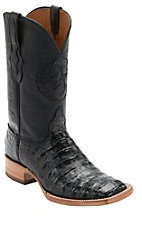 Black Jack Men's Black Caiman w/Black Goat Top Double Welt Square Toe Western Boots