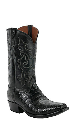 Black Jack Men's Black Caiman Belly with Goat Top Snip V-Toe Exotic Western Boots