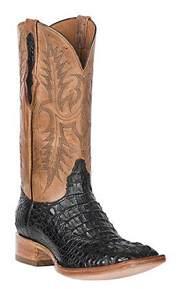 Black Jack Men's Black Matte Caiman Hornback and Pearl Maddog Goat Square Toe Exotic Western Boots