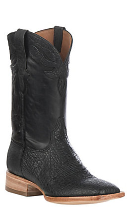 Black Jack Men's Black Maddog Elephant with Maddog Goat Exotic Wide Square Toe Boots