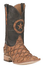 Black Jack Men's Barnwood Inverted Cut Pirarucu Fish with Chocolate Upper and Lone Star Inlay Exotic Square Toe Boots