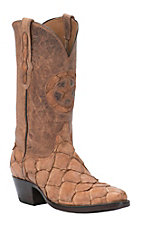 Black Jack Men's Barnwood Pirarucu Fish with Tan Maddog Top Exotic Traditional Toe Western Boots