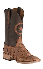 Black Jack Men's Barnwood Pirarucu Fish with Brown Maddog Top Double Welt Square Toe Western Boots
