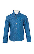 Wrangler 20X Boy's Navy and Blue Dots Print L/S Western Shirt