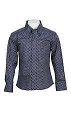 Wrangle 20X Boys' Navy & Brown Circle Print Stretch Western Shirt