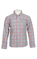 Wrangle 20X Boys' Blue & Orange Plaid Stretch Western Shirt