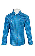 Wrangler 20X Boys' Blue and White Geo Print Long Sleeve Western Shirt