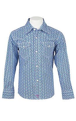 Wrangler Boys 20X Blue Print Western Shirt