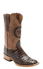 Black Jack Men's Chocolate Gator w/Tan Maddog Top Double Welt Square Toe Western Boots