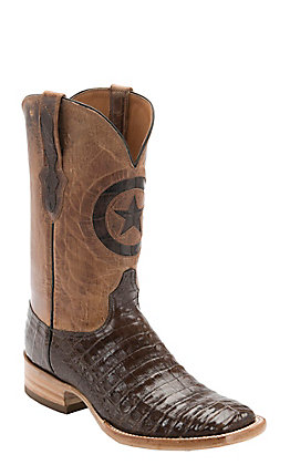 Black Jack Men's Chocolate Gator with Tan Maddog Top Double Welt Square Toe Western Boots