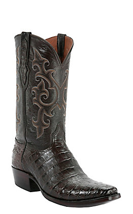 Black Jack Men's Chocolate Caiman Belly Snip V-Toe Exotic Western Boots