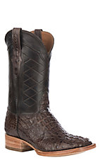 Black Jack Men's Burnished Chocolate Caiman Hornback Exotic Wide Square Toe Boots