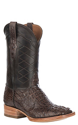 Black Jack Men's Burnished Chocolate Caiman Hornback Wide Square Toe Exotic Western Boots