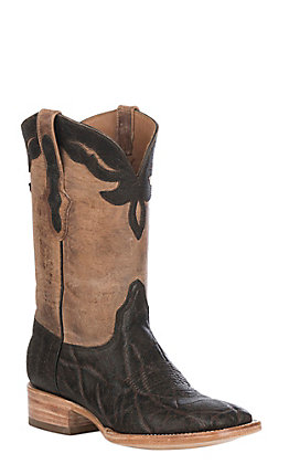 Black Jack Men's Chocolate Maddog Elephant & Tan Maddog Goat Wide Square Toe Exotic Western Boots
