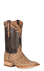 Black Jack Men's Burnished Chocolate Maddog Elephant Exotic Wide Square Toe Boots