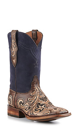 Black Jack Men's Hand Tooled Vintage Chocolate & Nubuck Navy Square Toe Western Boots