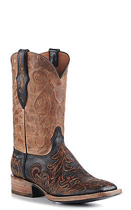 Black Jack Men's Chocolate Tandy Black Hand Tooled Foot and Goat Pearl Maddog Square Toe Exotic Western Boots