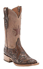Black Jack Men's Dark Brown Hand Tooled Foot with Pearl Maddog Top Star Inlay Square Toe Western Boots