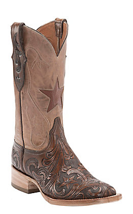 Black Jack Men's Dark Brown Hand Tooled & Goat Pearl Maddog Top Star Inlay Square Toe Western Boots