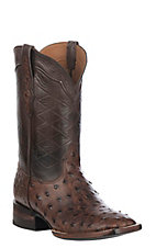 Black Jack Men's Burnished Chocolate Full Quill Ostrich Western Exotic Wide Square Toe Boots