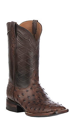 Black Jack Men's Burnished Brown Full Quill Ostrich Wide Square Toe Exotic Western Boots