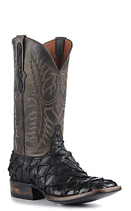 Black Jack Men's Black Matte Pirarucu and Goat Anthracite Maddog Square Toe Exotic Western Boots