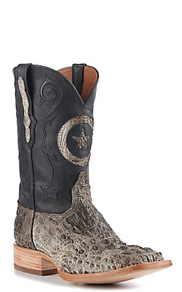 Black Jack Men's Natural Caiman Hornback and Black with Star Inlay Wide Square Toe Exotic Western Boots
