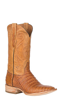 Black Jack Men's Cognac Caiman Belly & Pearl Goat Maddog Wide Square Toe Exotic Western Boots