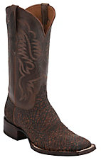 Black Jack Men's Safari Cognac Elephant w/ Brown Goat Top Square Toe Exotic Western Boots