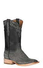 Black Jack Men's Safari Grey Maddog Elephant w/ Black Maddog Goat Exotic Wide Square Toe Boots