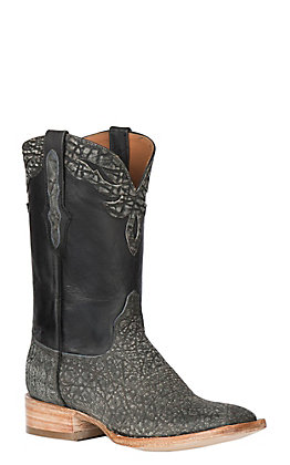 Black Jack Men's Safari Grey Maddog Elephant with Black Maddog Goat Exotic Wide Square Toe Boots