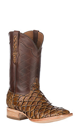 Black Jack Men's Vintage Chestnut & Burnished Brown Pirarucu Fish Square Toe Exotic Western Boots