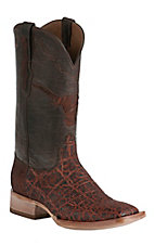 Black Jack Men's Vintage Chestnut Elephant with Brown Maddog Top Longhorn Inlay Exotic Square Toe Western Boots