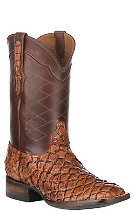 Black Jack Men's Ginger & Brown Farm Raised Pirarucu Fish Wide Square Toe Exotic Western Boots