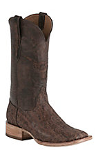 Black Jack Men's Vintage Rum Elephant with Brown Maddog Top Double Welt Exotic Square Toe Western Boots