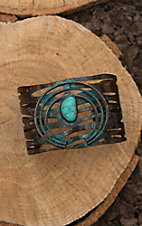 Amber's Allie Copper with Large Turquoise Squash Blossom Cuff Bracelet