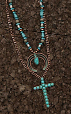 Amber's Allie Copper with Turquoise Beading Double Strand Necklace