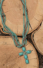 Amber's Allie Copper with Turquoise Beading and Cross Pendant Multi Strand Necklace