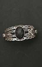 Amber's Allie Silver with Large Black Center Stone Cuff