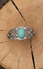 Amber's Allie Silver with Large Turquoise Center Stone Cuff