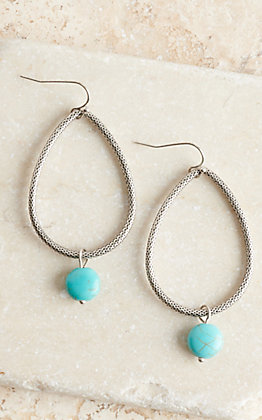 Amber's Allie Silver Teardrop with Turquoise Bead Hoop Earrings
