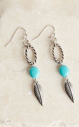 Amber's Allie Silver Hoop with Turquoise Bead and Feather Dangle Earrings