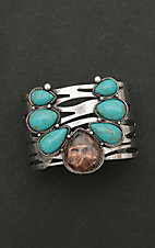Amber's Allie Silver with Large Turquoise Squash Blossom Cuff Bracelet