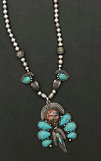 Amber's Allie Silver with Turquoise Beading Necklace