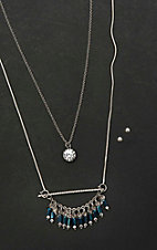 Amber's Allie Silver Double Chain Necklace with Silver Stud Earrings Jewelry Set