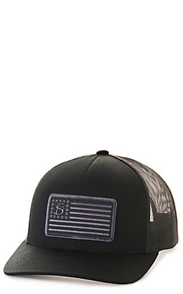 Stackin Bills Black with Logo Flag Patch Cap