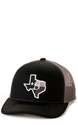 Stackin Bills Black & Charcoal Grey with Texas Logo Patch Snap Back Cap