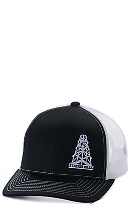 Stackin Bills Black and White Oil Derrick Logo Patch Snapback Cap