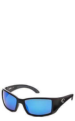 Costa Blackfin Black Matte with Blue Mirror Polarized Sunglasses